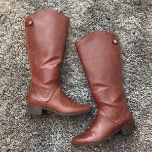 EUC Merona Riding Boot Faux Leather Cognac Brown